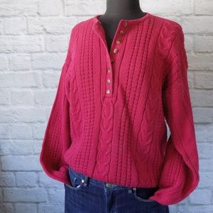 Button Front Vintage Red Long Sleeve Sweater